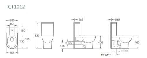 Toilet- Back To Wall - TC-1012-P 2